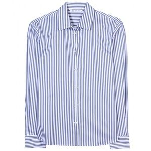 Loro Piana Britney Light Blue Stripe Button Blouse